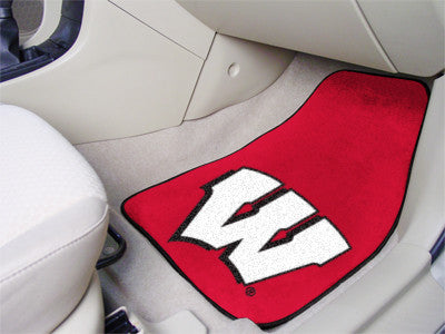 The UW Badgers 2 Piece Carpeted University of Wisconsin Car Floor Mat Set - FanMats 5492