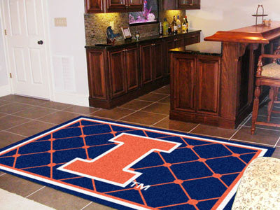 The Illinois Fighting Illini Area Rug Size 5x8, Fan Mats 6284