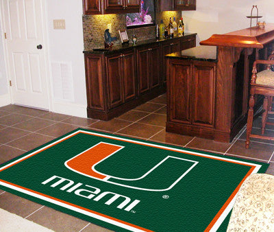 The Miami Hurricanes Area Rug Size 5x8, Fan Mats 6313