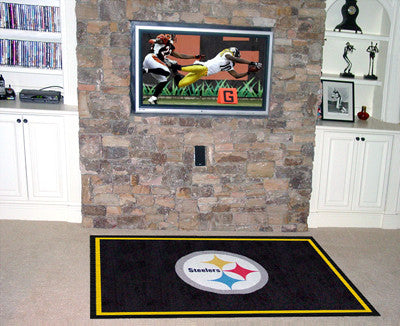 The 5x8 Pittsburgh Area Rug for Steelers Man Caves