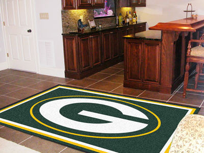 The 5x8 Green Bay Area Rug for Packers Man Caves
