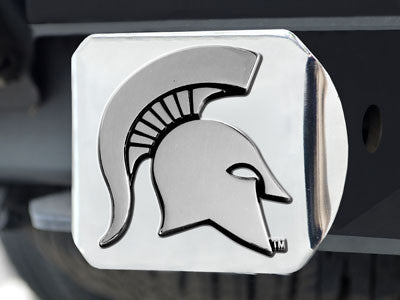 The MSU Spartans Chrome Trailer Hitch Cover - FanMats 15073