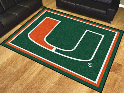 The Miami Hurricanes 8x10 Area Rug - Fan Mats 17559