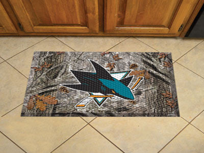 The San Jose Sharks Camo Scraper Mat - FanMats 19171