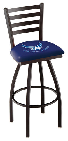 "L014 - 30"" Black Wrinkle U.S. Air Force Swivel Bar Stool with Ladder Style Back by Holland Bar Stool Co."