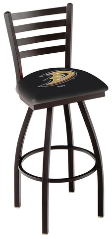 "L014 - 30"" Black Wrinkle Anaheim Ducks Swivel Bar Stool with Ladder Style Back by Holland Bar Stool Co."