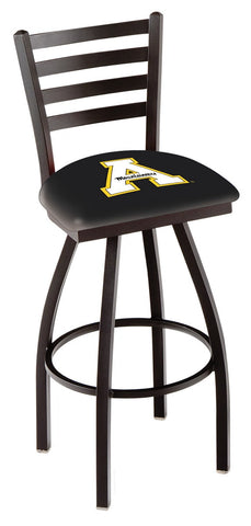 "ASU Mountaineers L014 - 30"" Black Wrinkle Appalachian State Swivel Bar Stool with Ladder Style Back"