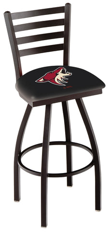 "L014 - 30"" Black Wrinkle Arizona Coyotes Swivel Bar Stool with Ladder Style Back by Holland Bar Stool Co."