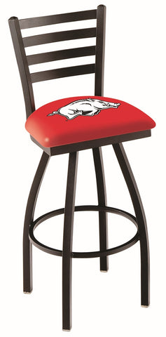 "Arkansas Razorbacks L014 - 30"" Black Wrinkle Arkansas Swivel Bar Stool with Ladder Style Back"