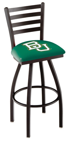 "Baylor  Bears L014 - 30"" Black Wrinkle Baylor Swivel Bar Stool with Ladder Style Back"