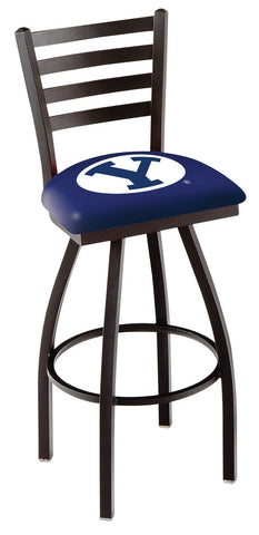 "BYU Cougars L014 - 30"" Black Wrinkle Brigham Young Swivel Bar Stool with Ladder Style Back"