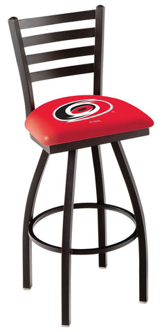 "L014 - 30"" Black Wrinkle Carolina Hurricanes Swivel Bar Stool with Ladder Style Back by Holland Bar Stool Co."