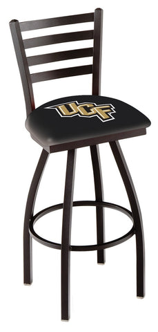 "UCF Knights L014 - 30"" Black Wrinkle Central Florida Swivel Bar Stool with Ladder Style Back"