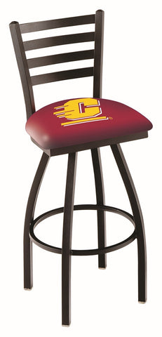 "CMU Chippewas L014 - 30"" Black Wrinkle Central Michigan Swivel Bar Stool with Ladder Style Back"