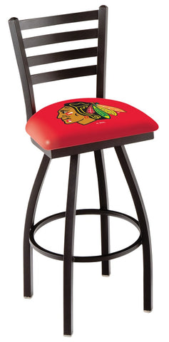 "L014 - 30"" Black Wrinkle Chicago Blackhawks Swivel Bar Stool with Ladder Style Back by Holland Bar Stool Co."