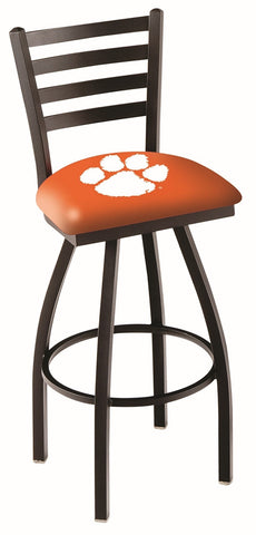 "Clemson  Tigers L014 - 30"" Black Wrinkle Clemson Swivel Bar Stool with Ladder Style Back"