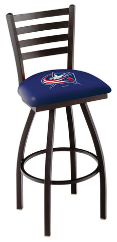 "L014 - 30"" Black Wrinkle Columbus Blue Jackets Swivel Bar Stool with Ladder Style Back by Holland Bar Stool Co."