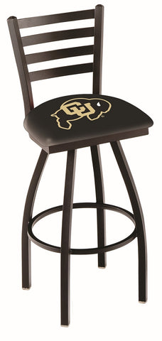 "Colorado Buffaloes L014 - 30"" Black Wrinkle Colorado Swivel Bar Stool with Ladder Style Back"