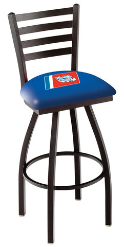 "L014 - 30"" Black Wrinkle U.S. Coast Guard Swivel Bar Stool with Ladder Style Back by Holland Bar Stool Co."