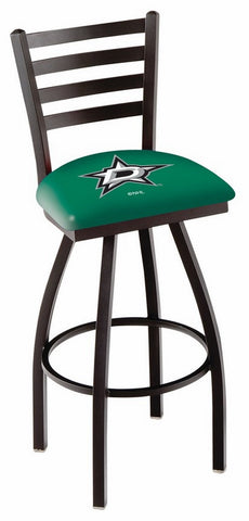 "L014 - 30"" Black Wrinkle Dallas Stars Swivel Bar Stool with Ladder Style Back by Holland Bar Stool Co."