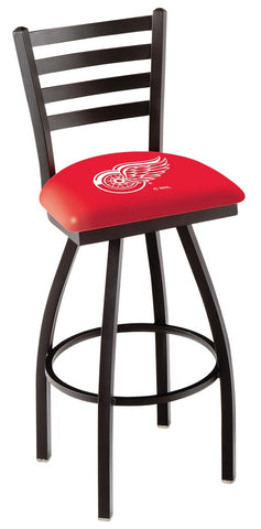 "L014 - 30"" Black Wrinkle Detroit Red Wings Swivel Bar Stool with Ladder Style Back by Holland Bar Stool Co."