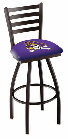 "ECU Pirates L014 - 30"" Black Wrinkle East Carolina Swivel Bar Stool with Ladder Style Back"