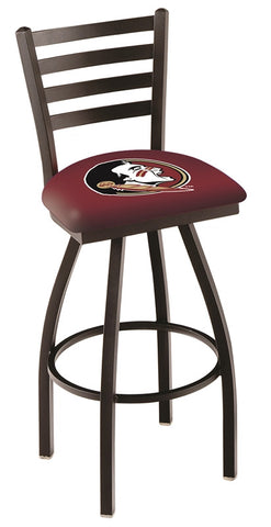 "FSU Seminoles L014 - 30"" Black Wrinkle Florida State (Head) Swivel Bar Stool with Ladder Style Back"