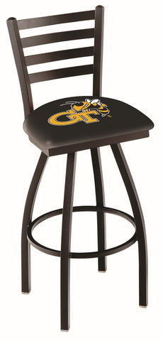 "Georgia Tech Yellow Jackets L014 - 30"" Black Wrinkle Georgia Tech Swivel Bar Stool with Ladder Style Back"