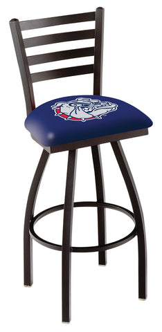 "Gonzaga Bulldogs L014 - 30"" Black Wrinkle Gonzaga Swivel Bar Stool with Ladder Style Back"