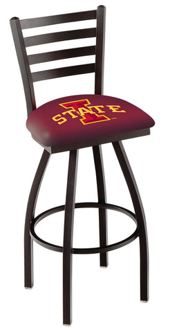 "ISU Cyclones L014 - 30"" Black Wrinkle Iowa State Swivel Bar Stool with Ladder Style Back"
