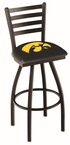 "Iowa Hawkeyes L014 - 30"" Black Wrinkle Iowa Swivel Bar Stool with Ladder Style Back"