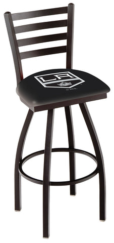 "L014 - 30"" Black Wrinkle Los Angeles Kings Swivel Bar Stool with Ladder Style Back by Holland Bar Stool Co."