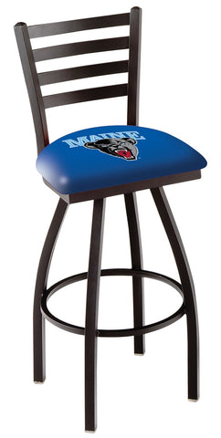 "Maine Black Bears L014 - 30"" Black Wrinkle Maine Swivel Bar Stool with Ladder Style Back"