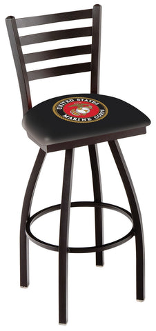 "L014 - 30"" Black Wrinkle U.S. Marines Swivel Bar Stool with Ladder Style Back by Holland Bar Stool Co."