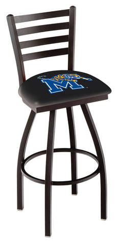 "Memphis Tigers L014 - 30"" Black Wrinkle Memphis Swivel Bar Stool with Ladder Style Back"