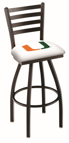 "Miami Hurricanes L014 - 30"" Black Wrinkle Miami (FL) Swivel Bar Stool with Ladder Style Back"