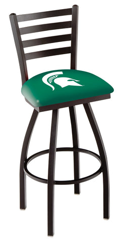 "MSU Spartans L014 - 30"" Black Wrinkle Michigan State Swivel Bar Stool with Ladder Style Back"