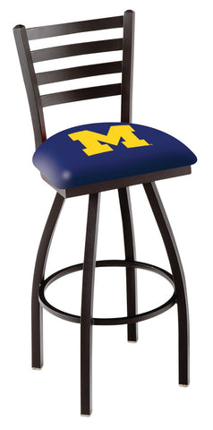 "Michigan Wolverines L014 - 30"" Black Wrinkle Michigan Swivel Bar Stool with Ladder Style Back"