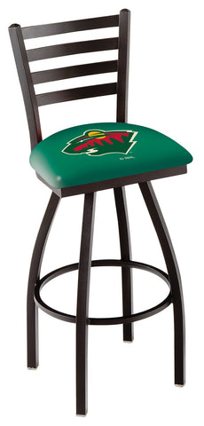 "L014 - 30"" Black Wrinkle Minnesota Wild Swivel Bar Stool with Ladder Style Back by Holland Bar Stool Co."