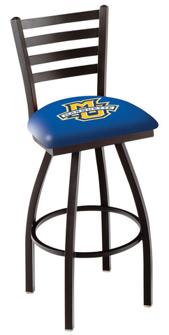 "Marquette Golden Eagles L014 - 30"" Black Wrinkle Marquette Swivel Bar Stool with Ladder Style Back"