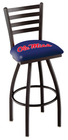 "Ole Miss Rebels L014 - 30"" Black Wrinkle Ole' Miss Swivel Bar Stool with Ladder Style Back"