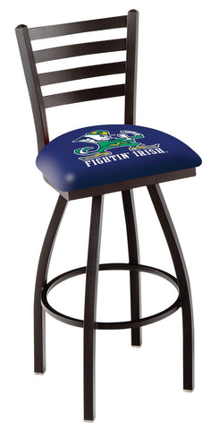 "ND Fighting Irish L014 - 30"" Black Wrinkle Notre Dame (Leprechaun) Swivel Bar Stool with Ladder Style Back"