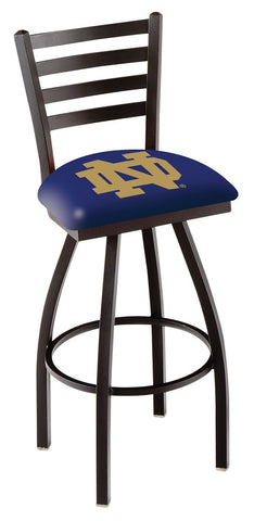 "ND Fighting Irish L014 - 30"" Black Wrinkle Notre Dame (ND) Swivel Bar Stool with Ladder Style Back"