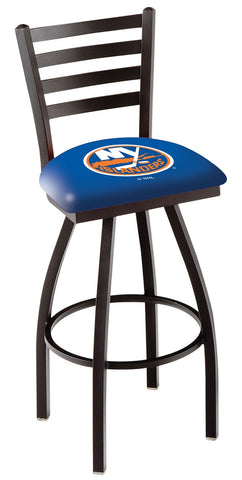 "L014 - 30"" Black Wrinkle New York Islanders Swivel Bar Stool with Ladder Style Back by Holland Bar Stool Co."
