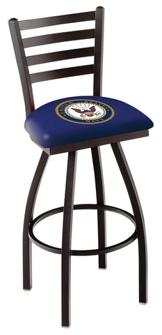 "L014 - 30"" Black Wrinkle U.S. Navy Swivel Bar Stool with Ladder Style Back by Holland Bar Stool Co."