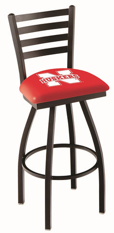 "Nebraska Cornhuskers L014 - 30"" Black Wrinkle Nebraska Swivel Bar Stool with Ladder Style Back"
