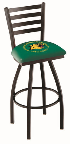 "NMU Wildcats L014 - 30"" Black Wrinkle Northern Michigan Swivel Bar Stool with Ladder Style Back"
