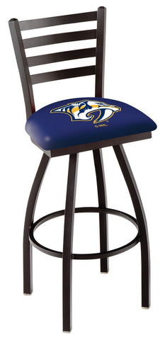 "L014 - 30"" Black Wrinkle Nashville Predators Swivel Bar Stool with Ladder Style Back by Holland Bar Stool Co."