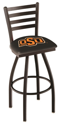"OSU Cowboys L014 - 30"" Black Wrinkle Oklahoma State Swivel Bar Stool with Ladder Style Back"