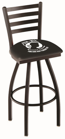 "L014 - 30"" Black Wrinkle POW/MIA Swivel Bar Stool with Ladder Style Back by Holland Bar Stool Co."